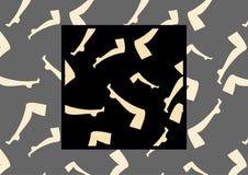 Naadloos vectorpatroon met beeld van vrouwelijke benen in kousen op donkere achtergrond met voorbeeld hoe te in ontwerp te gebrui Stock Fotografie