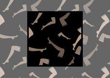 Naadloos vectorpatroon met beeld van vrouwelijke benen in kousen op donkere achtergrond met voorbeeld hoe te in ontwerp te gebrui Royalty-vrije Stock Afbeeldingen