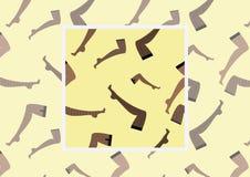 Naadloos vectorpatroon met beeld van vrouwelijke benen in kousen op lichte achtergrond met voorbeeld hoe te in ontwerp te gebruik Stock Foto