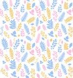 Naadloos vectorpatroon met bladeren Stock Afbeeldingen