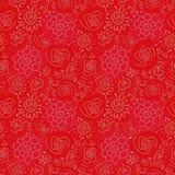 Naadloos vectorpatroon met bloemkrabbel op rode achtergrond royalty-vrije illustratie