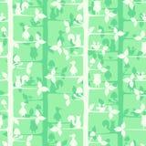 Naadloos vectorpatroon met bomen en bosvogels Stock Fotografie