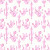 Naadloos vectorpatroon met cactus en bloem Stock Afbeelding