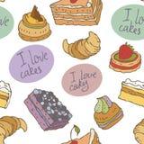 Naadloos vectorpatroon met cakes Royalty-vrije Stock Foto's