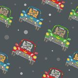 Naadloos Vectorpatroon met Cat Driving een Auto vector illustratie