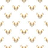 Naadloos vectorpatroon met chihuahua Repea van het hond hoofd vlakke pictogram stock illustratie