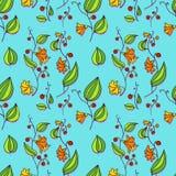 Naadloos vectorpatroon met de bloemen van de lijntekening Stock Foto