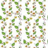 Naadloos vectorpatroon met de bloemen van de lijntekening Stock Afbeelding