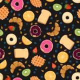 Naadloos vectorpatroon met de dingen van het kawaiiontbijt op zwarte achtergrond perfect voor verpakkend document achtergronden e royalty-vrije stock foto
