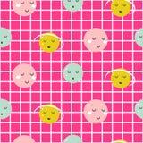 Naadloos vectorpatroon met de leuke achtergrond van het planeten geruite roze meisje royalty-vrije illustratie