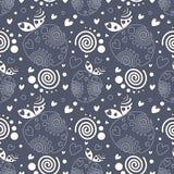 Naadloos vectorpatroon met decoratieve sier mooie aardbeien en punten op de blauwe achtergrond Stock Afbeelding