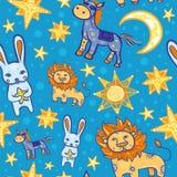Naadloos vectorpatroon met dieren en sterren bij nacht Royalty-vrije Stock Foto's