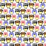 Naadloos vectorpatroon met dieren Leuke achtergrond met grappige varkens, sheeps, honden en koeien op de witte achtergrond stock illustratie