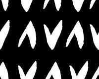 Naadloos vectorpatroon met driehoek, vinkjewit op zwarte Getrokken hand Vector vector illustratie