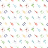 Naadloos vectorpatroon met elementen van bureaulevering Kleurrijke achtergrond met schaar, notitieboekje, laptop, PC, pen, potloo Royalty-vrije Stock Fotografie