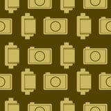 Naadloos vectorpatroon met elementen van retro camera's en film Royalty-vrije Stock Afbeeldingen
