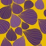 Naadloos Vectorpatroon met Fig. in grafische stylization Purple en mosterd in kleuren Leuke vectorachtergrond royalty-vrije illustratie