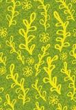 Naadloos vectorpatroon met gele installatie en bloemenkrabbels op geweven achtergrond stock illustratie