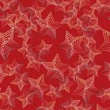 Naadloos vectorpatroon met glanzende sterren, abstractieillustratie op rode achtergrond vector illustratie