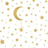 Naadloos vectorpatroon met gouden sterren, maan op wit vector illustratie