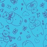 Naadloos vectorpatroon met grappige beren in beeldverhaalstijl Royalty-vrije Stock Afbeelding