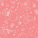 Naadloos vectorpatroon met grappige beren in beeldverhaalstijl op roze kleurenachtergrond Stock Foto's