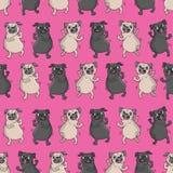 Naadloos vectorpatroon met grappige honden Stock Foto's