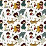 Naadloos vectorpatroon met grappige speeljongens en meisjes royalty-vrije illustratie