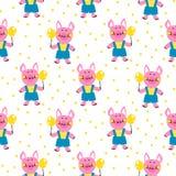 Naadloos vectorpatroon met grappige varkens stock illustratie