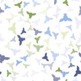 Naadloos vectorpatroon met groene, blauwe, grijze uilen Stock Foto