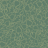 Naadloos vectorpatroon met groene de herfstbladeren Stock Foto