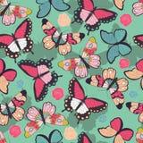 Naadloos vectorpatroon met hand getrokken kleurrijke vlinders stock illustratie