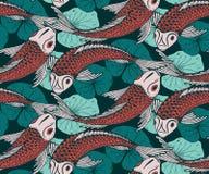 Naadloos vectorpatroon met hand getrokken Koi-vissen Royalty-vrije Stock Fotografie