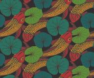 Naadloos vectorpatroon met hand getrokken Koi-vissen Stock Afbeeldingen