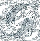 Naadloos vectorpatroon met hand getrokken Koi-vissen (Japanse karper), golven Stock Afbeelding