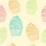 Naadloos vectorpatroon met hand getrokken overzichts cupcake illustraties Stock Illustratie