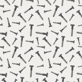 Naadloos vectorpatroon met hulpmiddelen Chaotische achtergrond met schroeven op de grijze achtergrond Stock Fotografie