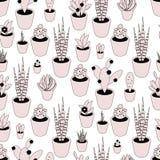 Naadloos vectorpatroon met ingemaakte installaties in roze kleuren royalty-vrije illustratie