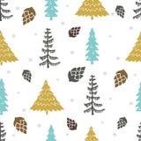 Naadloos vectorpatroon met Kerstbomen Stock Afbeeldingen