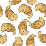 Naadloos Vectorpatroon met Klassieke Croissants Royalty-vrije Stock Fotografie