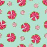 Naadloos vectorpatroon met kleurenwatermeloenen Royalty-vrije Stock Foto's
