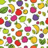 Naadloos vectorpatroon met kleurrijke krabbel sappige vruchten Stock Afbeeldingen