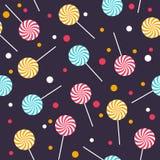 Naadloos vectorpatroon met kleurrijke lollys Stock Afbeelding