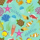 Naadloos vectorpatroon met leuke decoratieve vissenillustratie Grappige veelkleurige achtergrond, mariene textuur onderwater stock illustratie