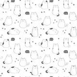 Naadloos vectorpatroon met leuke katten Stock Illustratie