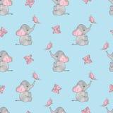 Naadloos vectorpatroon met leuke olifanten en vlinders Stock Afbeeldingen
