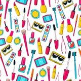 Naadloos vectorpatroon met make-uphulpmiddelen, borstels Stock Fotografie