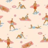 Naadloos vectorpatroon met mensen op strand in Skandinavische stijl Affiche over het zonnebaden vector illustratie