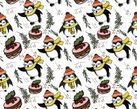 Naadloos vectorpatroon met pinguïnen op het vector illustratie