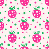Naadloos vectorpatroon met roze decoratieve sier leuke aardbeien en punten op de witte achtergrond Stock Afbeeldingen
